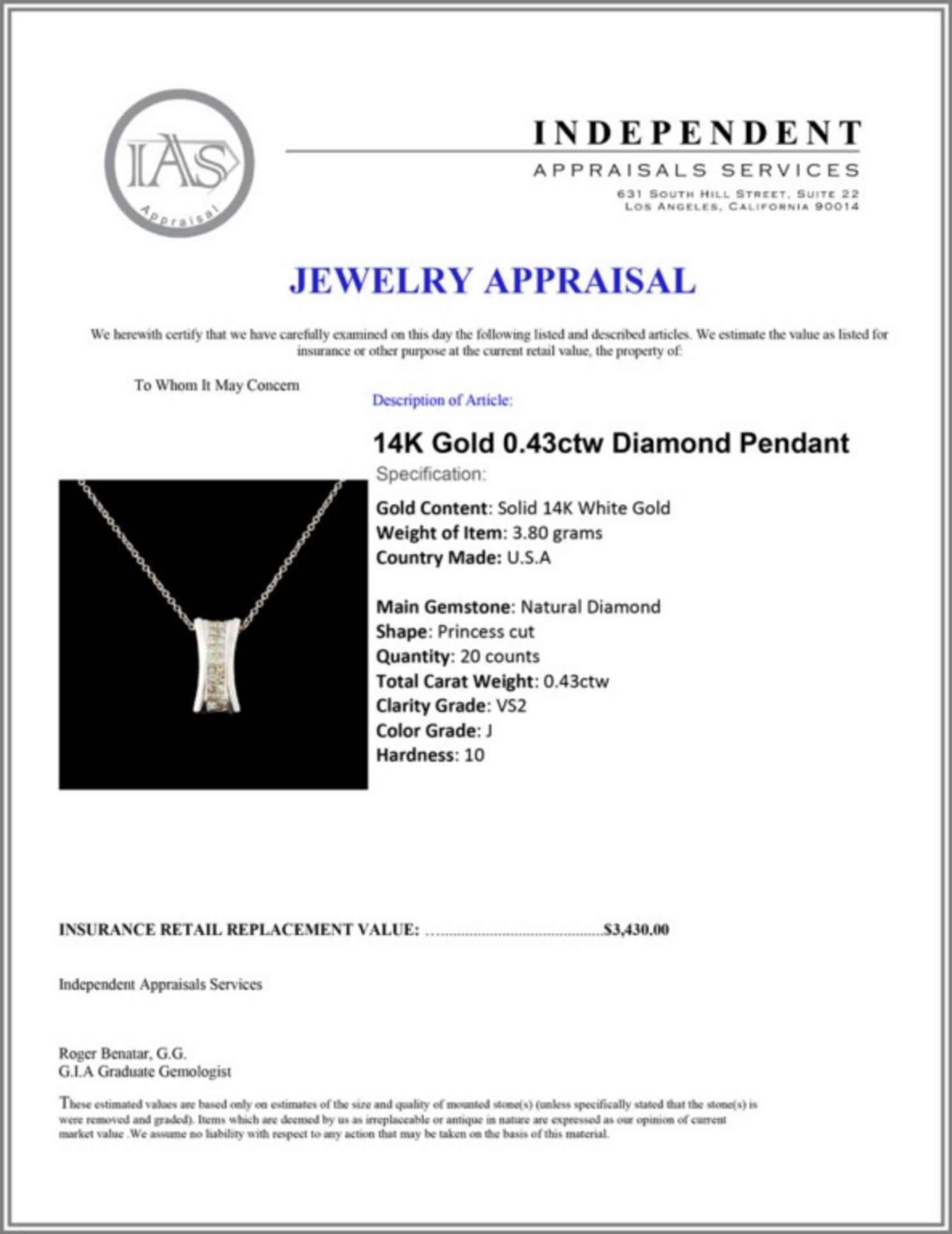 14K Gold 0.43ctw Diamond Pendant - Image 4 of 4
