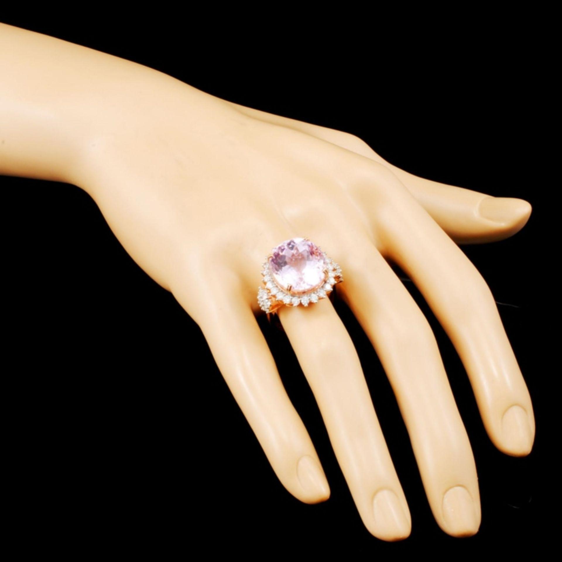 14K Gold 17.00ct Kunzite & 1.32ctw Diamond Ring - Image 3 of 5