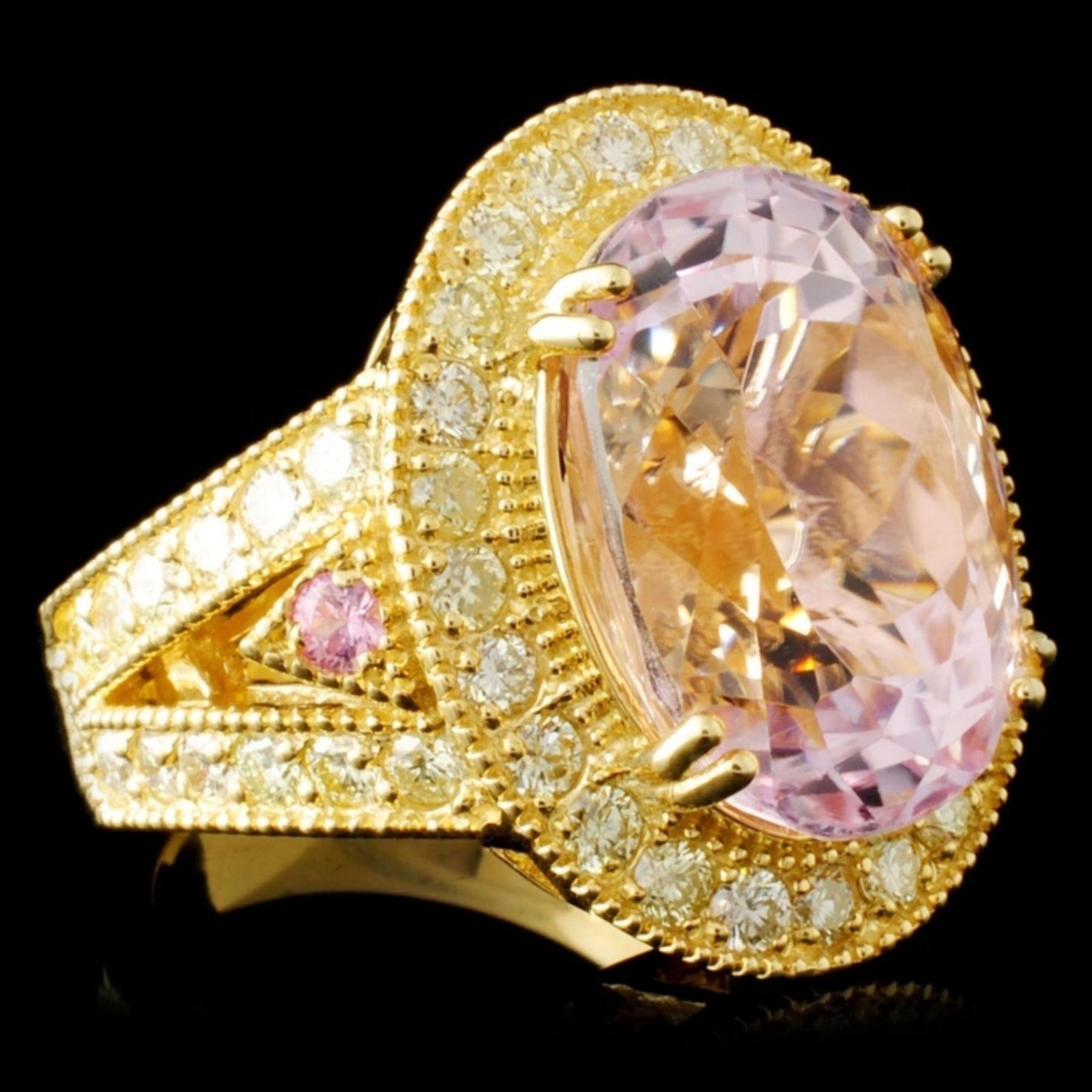 14K Gold 13.84ct Kunzite & 1.72ctw Diamond Ring - Image 3 of 5
