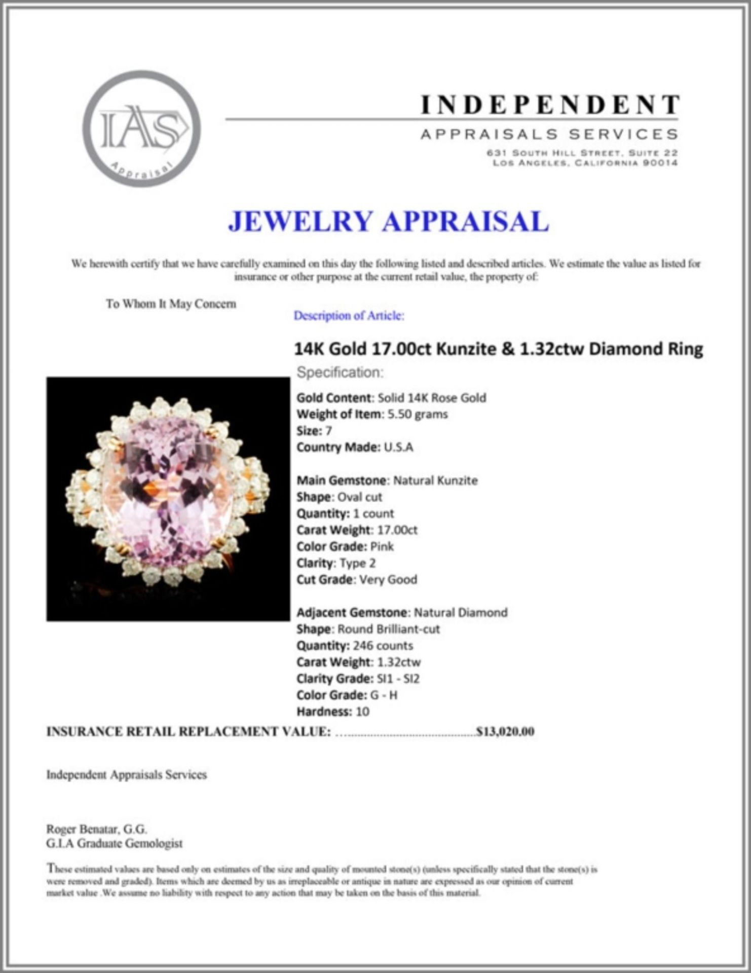14K Gold 17.00ct Kunzite & 1.32ctw Diamond Ring - Image 5 of 5