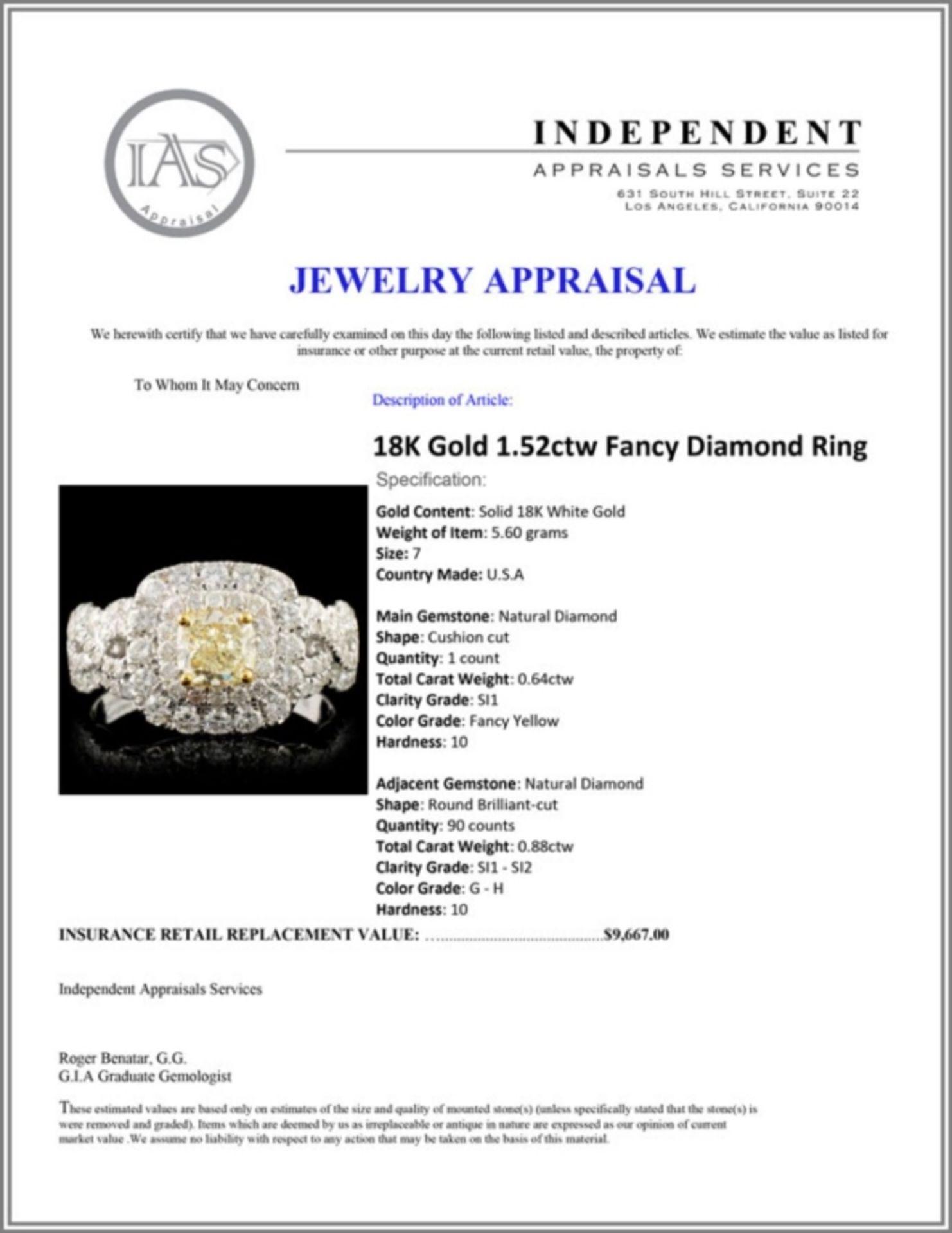 18K Gold 1.52ctw Fancy Diamond Ring - Image 5 of 5