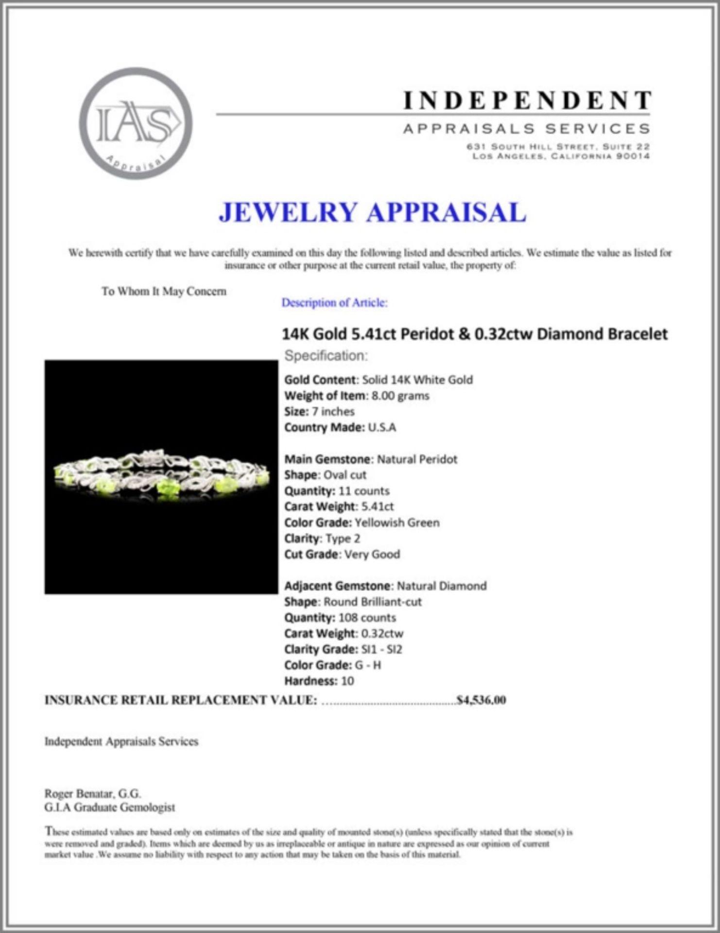 14K Gold 5.41ct Peridot & 0.32ctw Diamond Bracelet - Image 4 of 4
