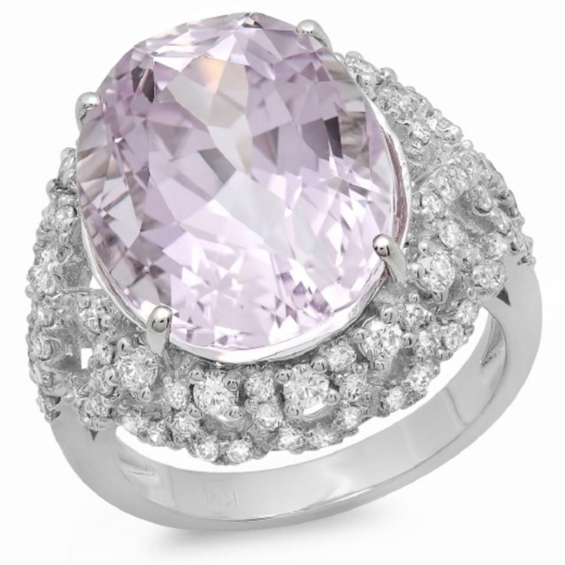 14K Gold 14.50ct Kunzite & 1.00ct Diamond Ring