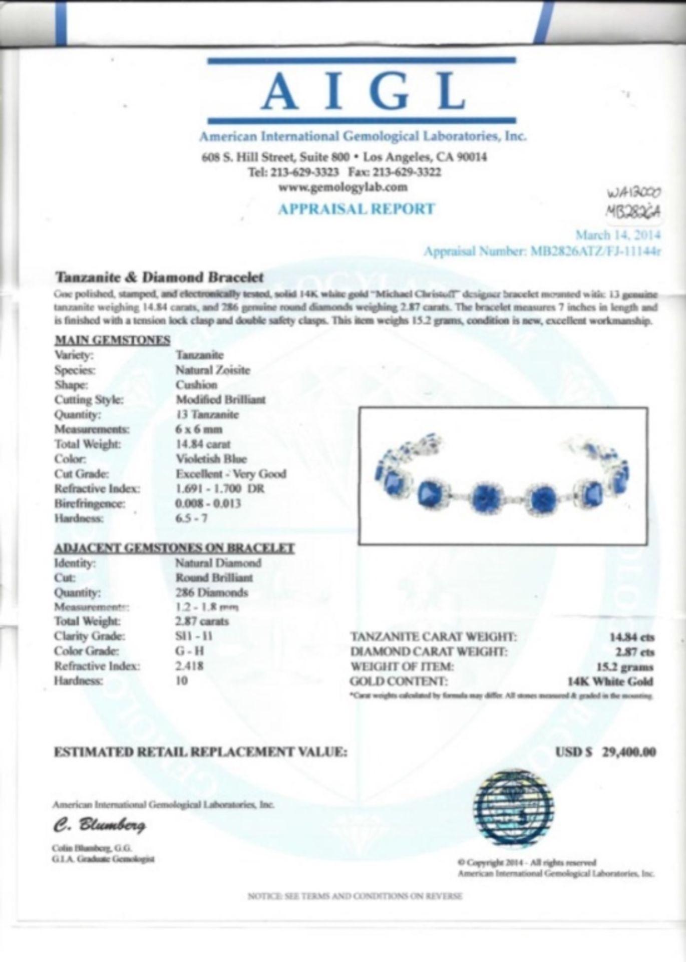 14K Gold 14.84ctw Tanzanite & 2.87ctw Diamond Brac - Image 3 of 3