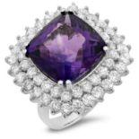 14K Gold 12.00ct Amethyst & 2.80ct Diamond Ring