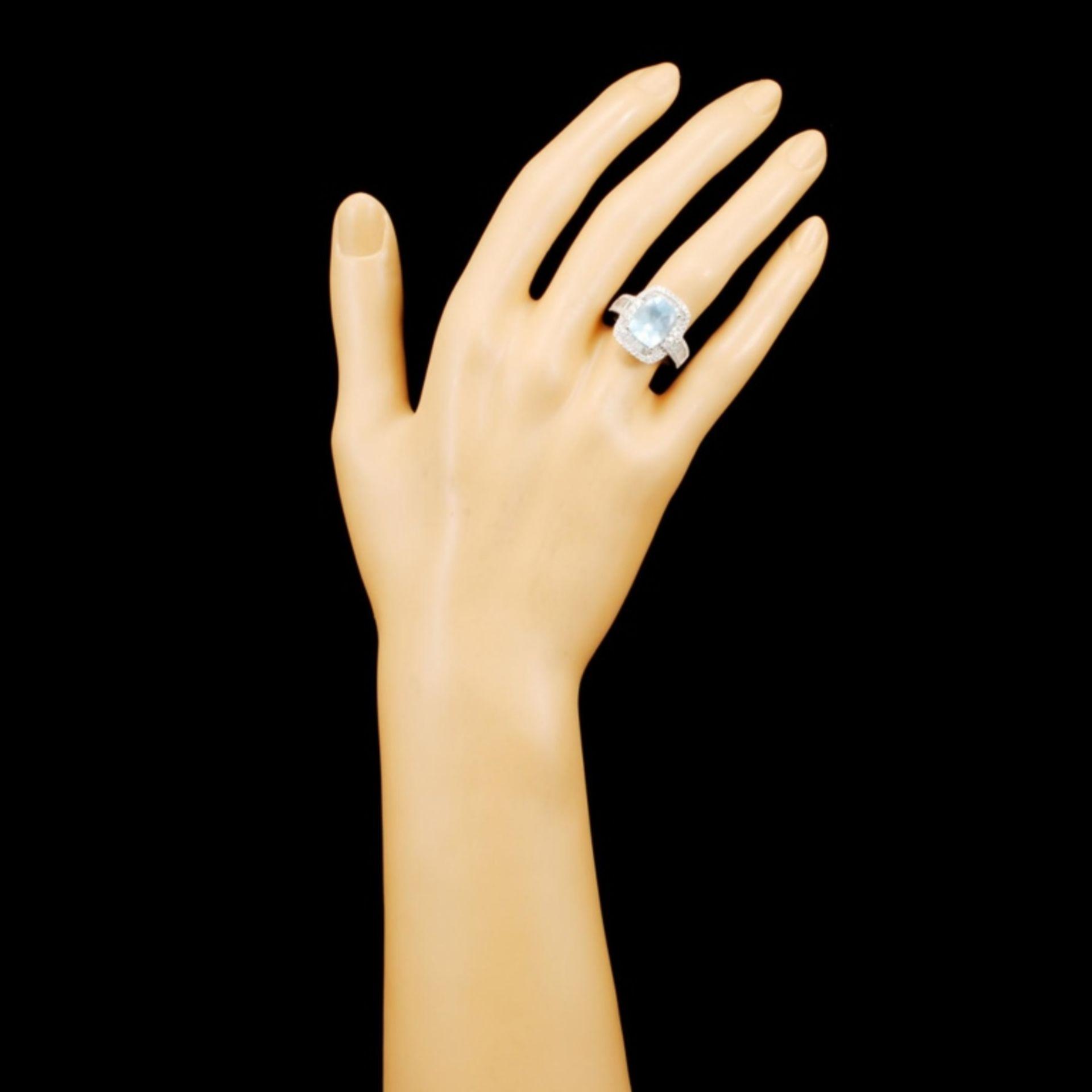 14K Gold 3.43ct Aquamarine & 1.30ctw Diamond Ring - Image 4 of 5