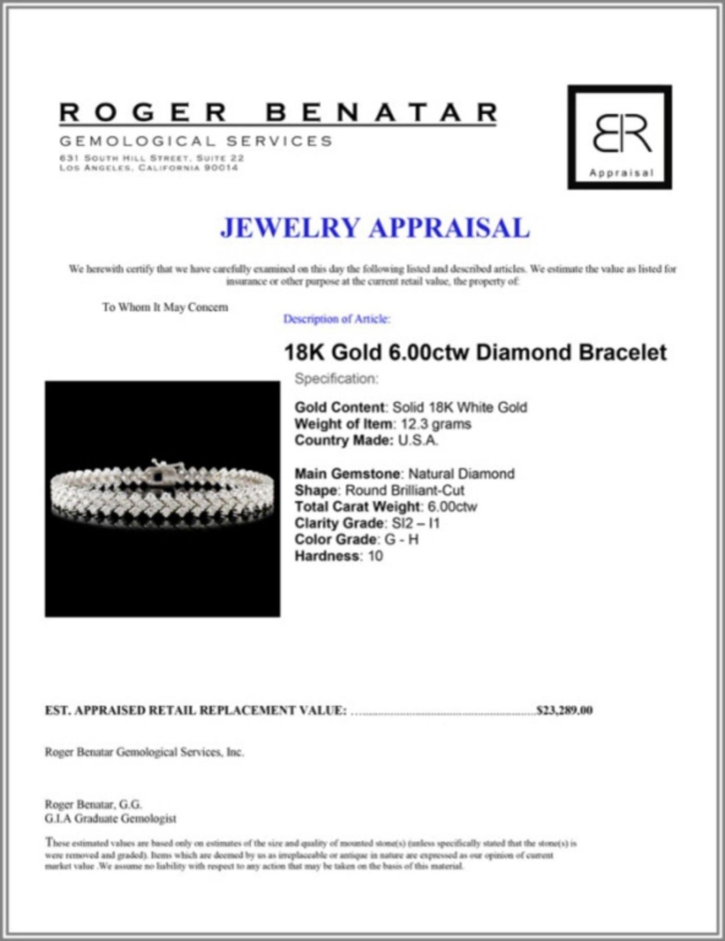18K Gold 6.00ctw Diamond Bracelet - Image 3 of 3