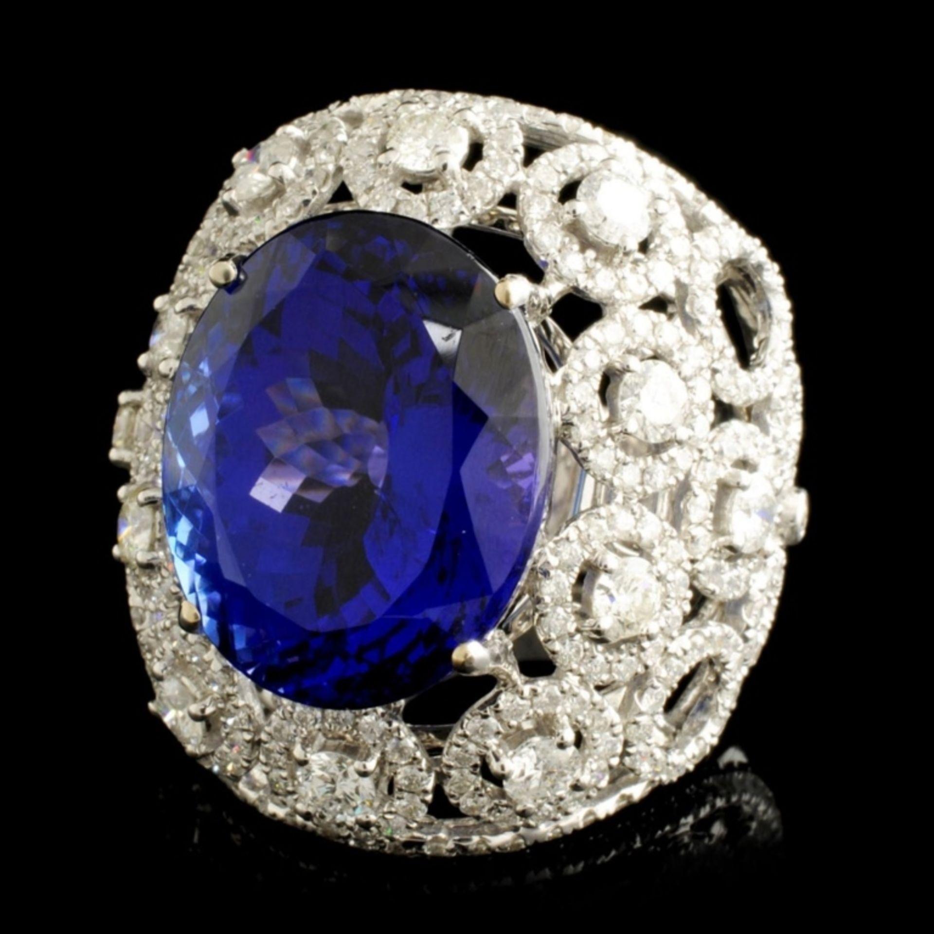 18K Gold 15.49ct Tanzanite & 2.68ctw Diamond Ring - Image 2 of 5