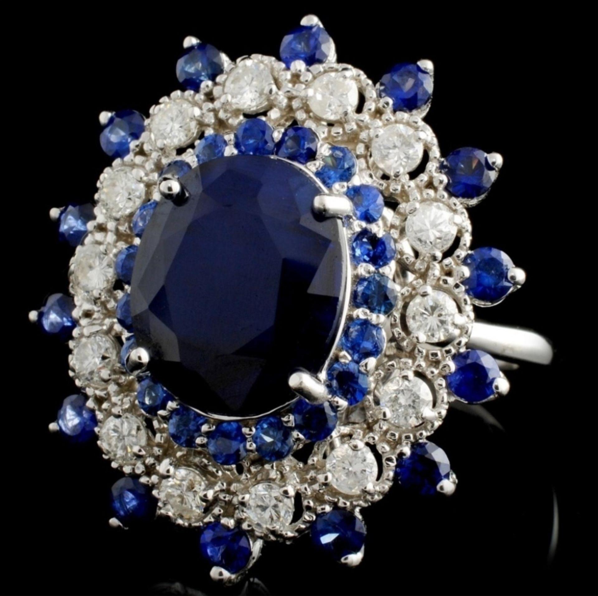 14K White Gold 7.50ct Sapphire & 1ct Diamond Ring - Image 2 of 4