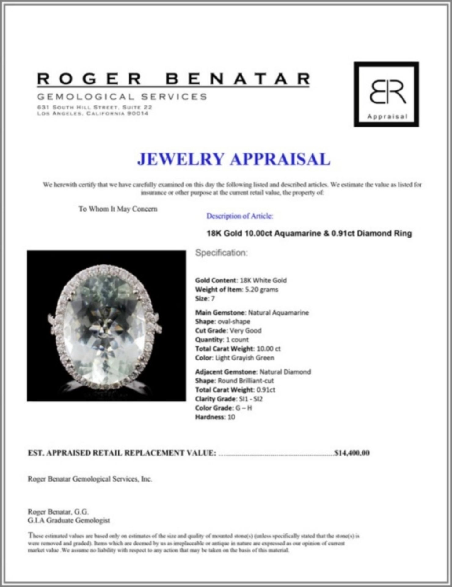 18K Gold 10.00ct Aquamarine & 0.91ct Diamond Ring - Image 4 of 4