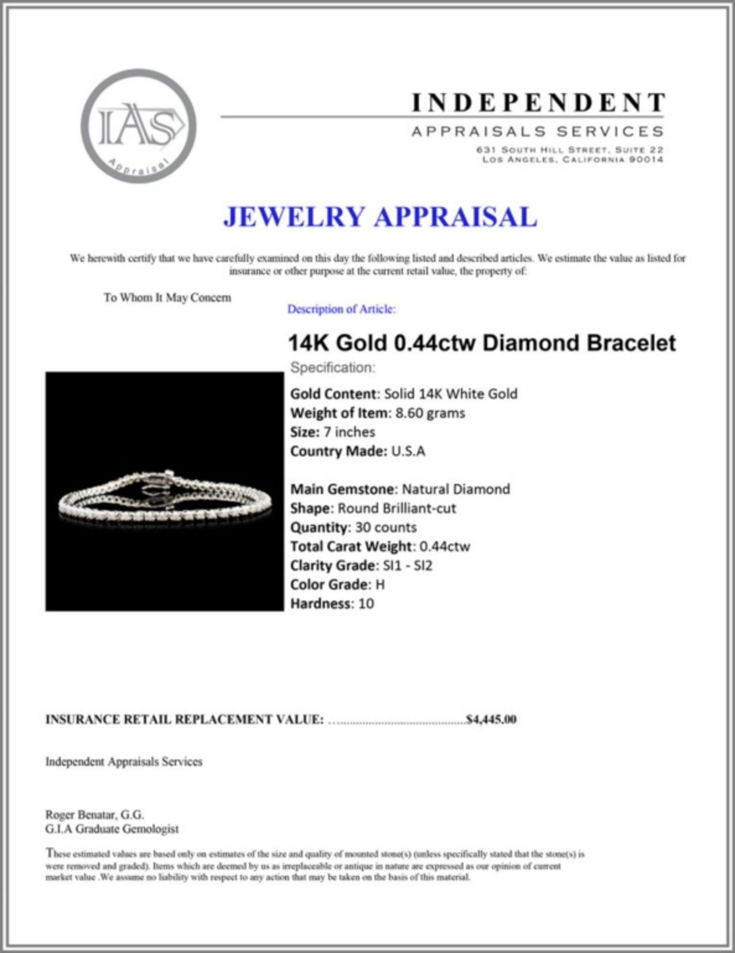 14K Gold 0.44ctw Diamond Bracelet - Image 4 of 4