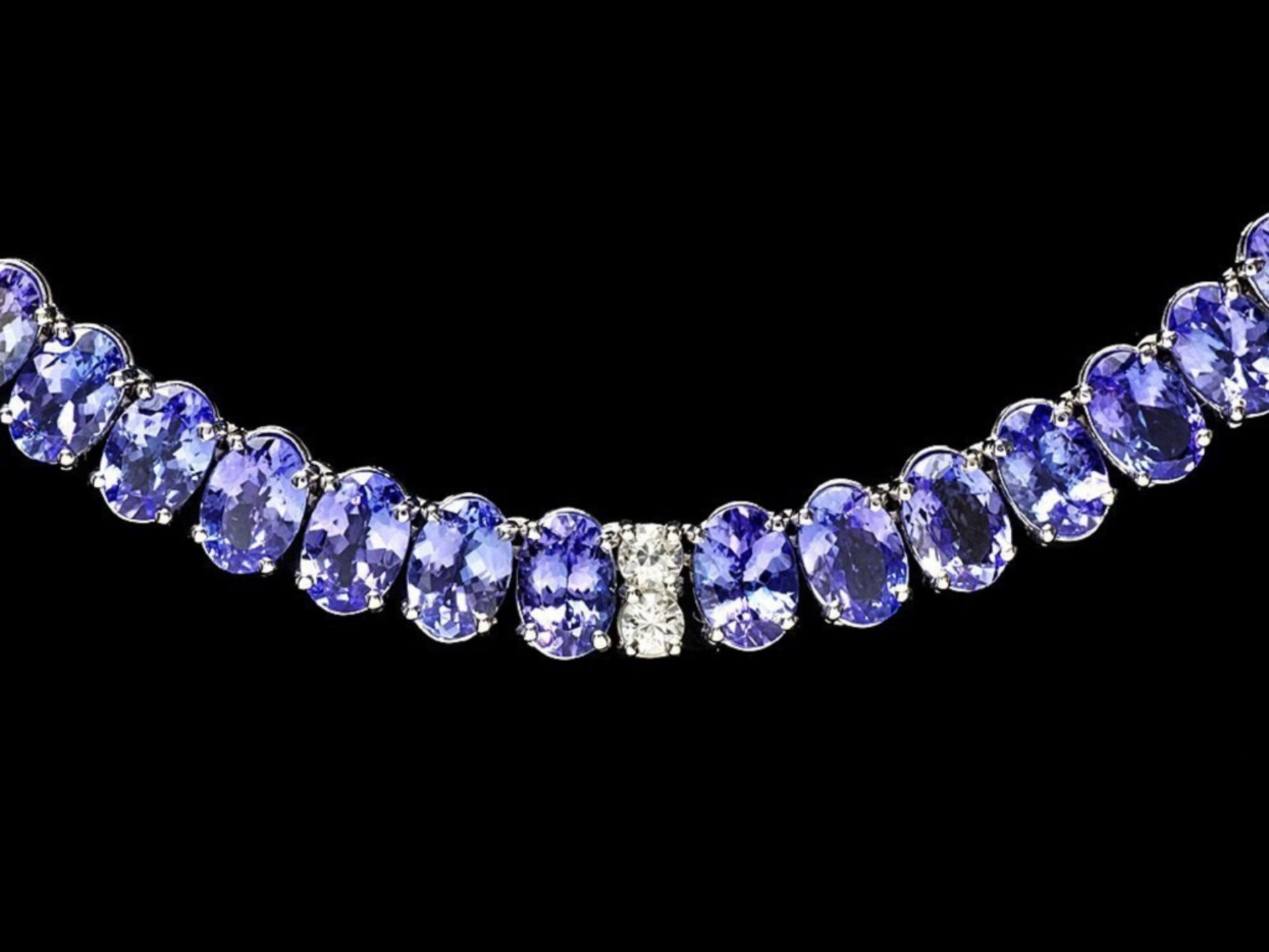 `14k Gold 55.00ct Tanzanite & 1.35ct Diamond Neckl - Image 2 of 5