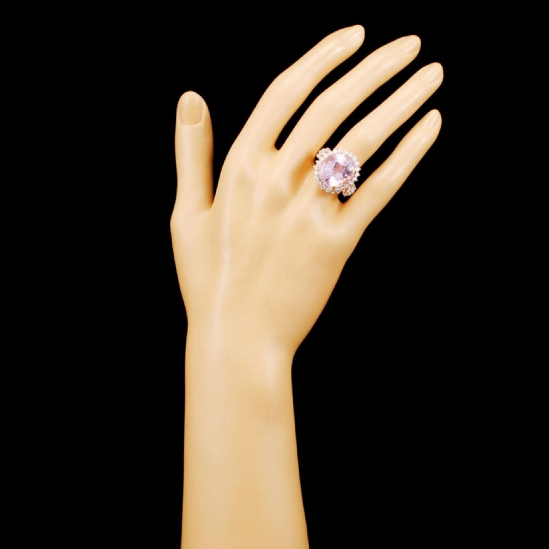 14K Gold 17.00ct Kunzite & 1.32ctw Diamond Ring - Image 4 of 5