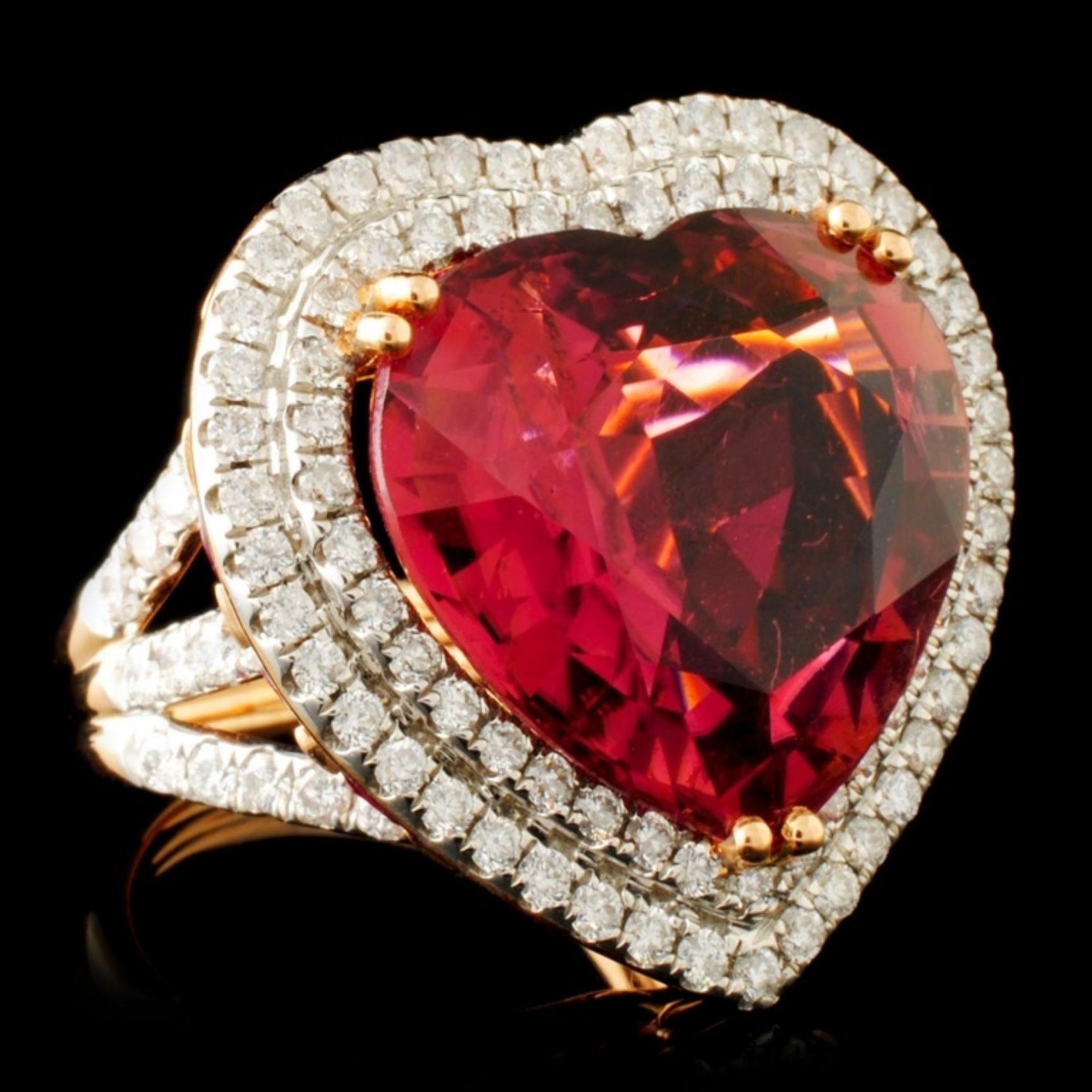 18K Gold 16.47ct Rubellite & 1.76ctw Diamond Ring - Image 3 of 6