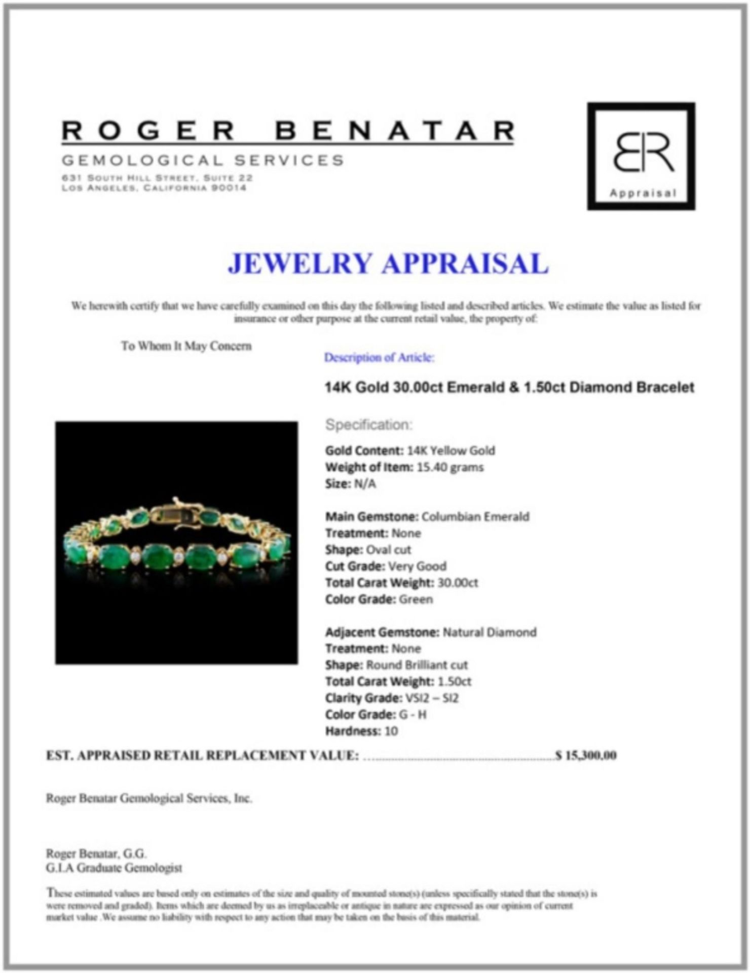 14K Gold 30.00ct Emerald & 1.50ct Diamond Bracelet - Image 3 of 3
