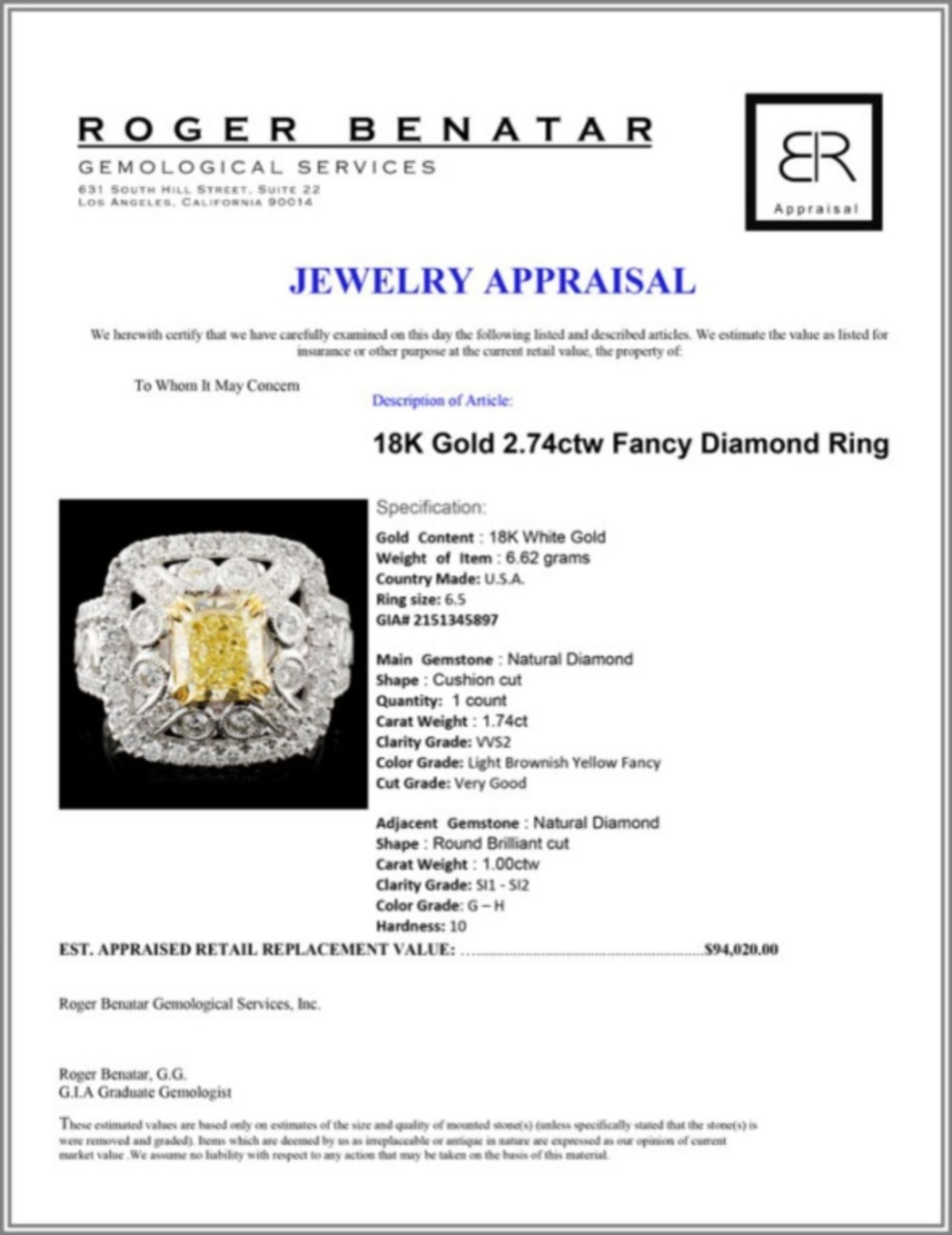 18K Gold 2.74ctw Fancy Diamond Ring - Image 4 of 4
