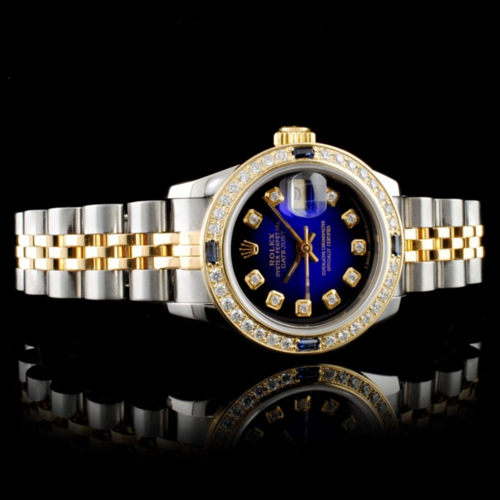 Rolex DateJust 18K & SS 1.00ct Diamond Blue Vignet - Image 2 of 8