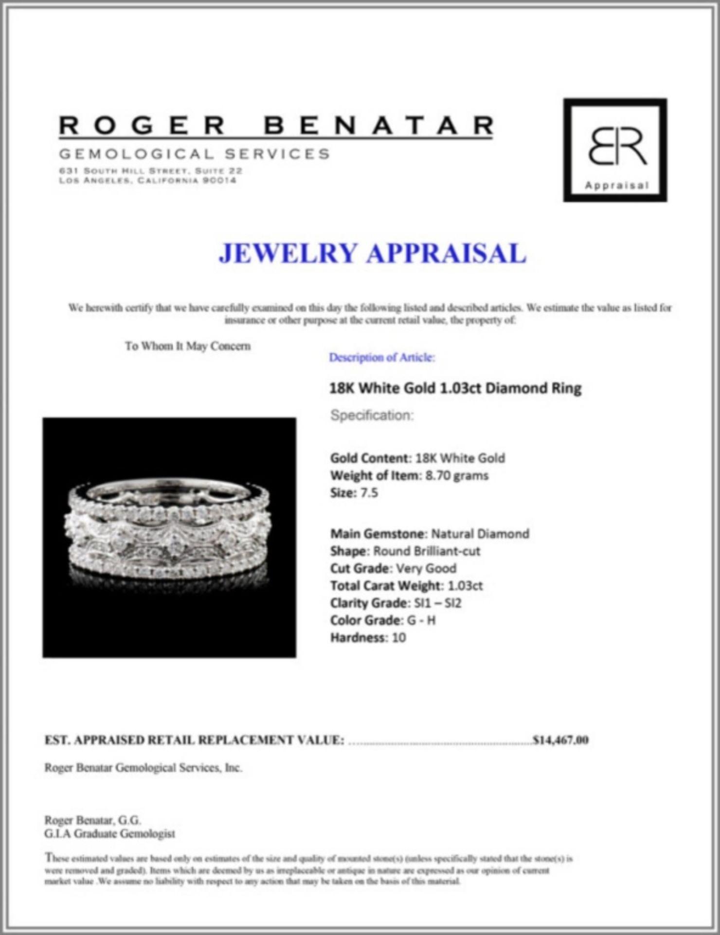 18K White Gold 1.03ct Diamond Ring - Image 4 of 4