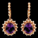14K Gold 10.27ct Amethyst & 1.83ctw Diamond Earrin