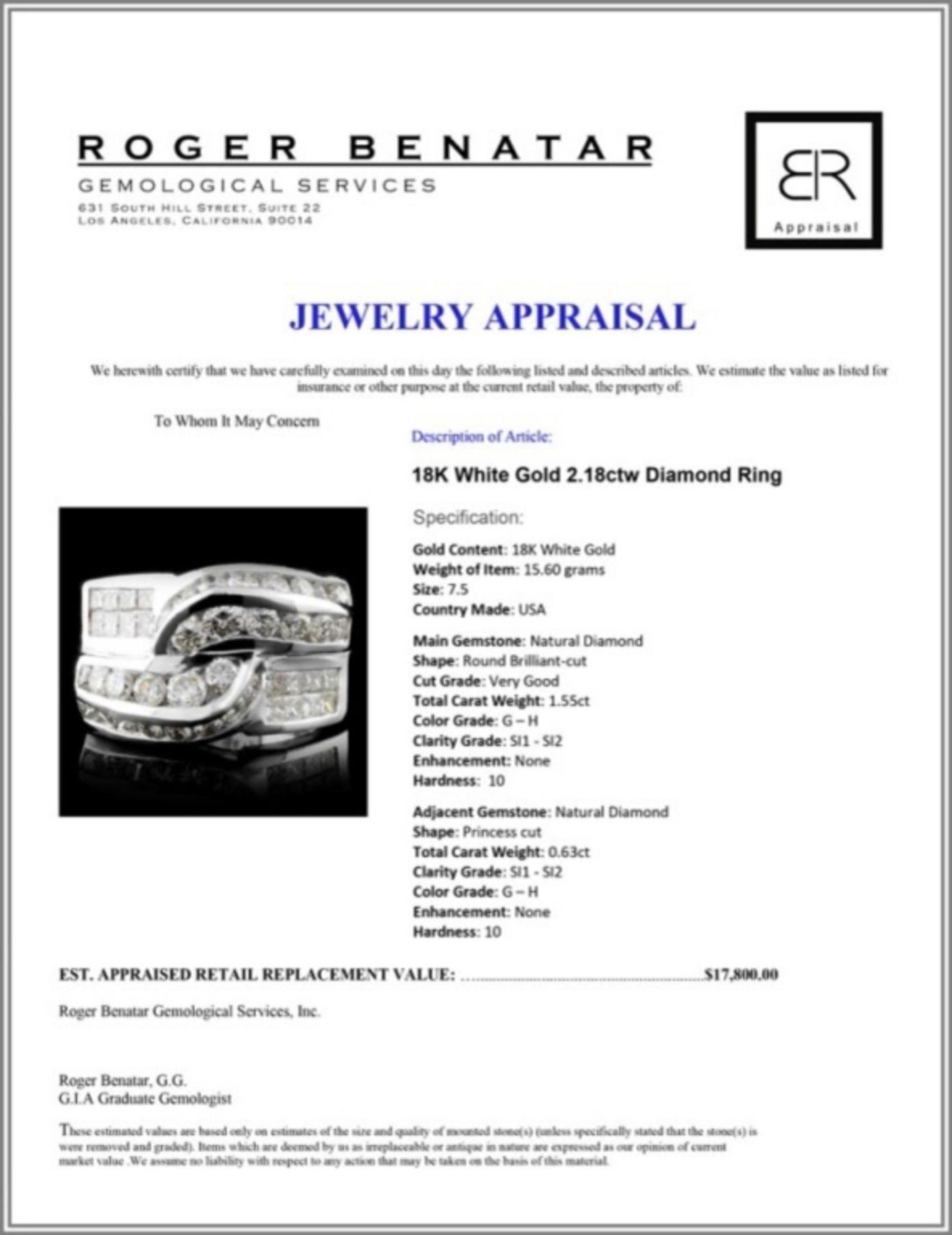 18K White Gold 2.18ctw Diamond Ring - Image 3 of 3