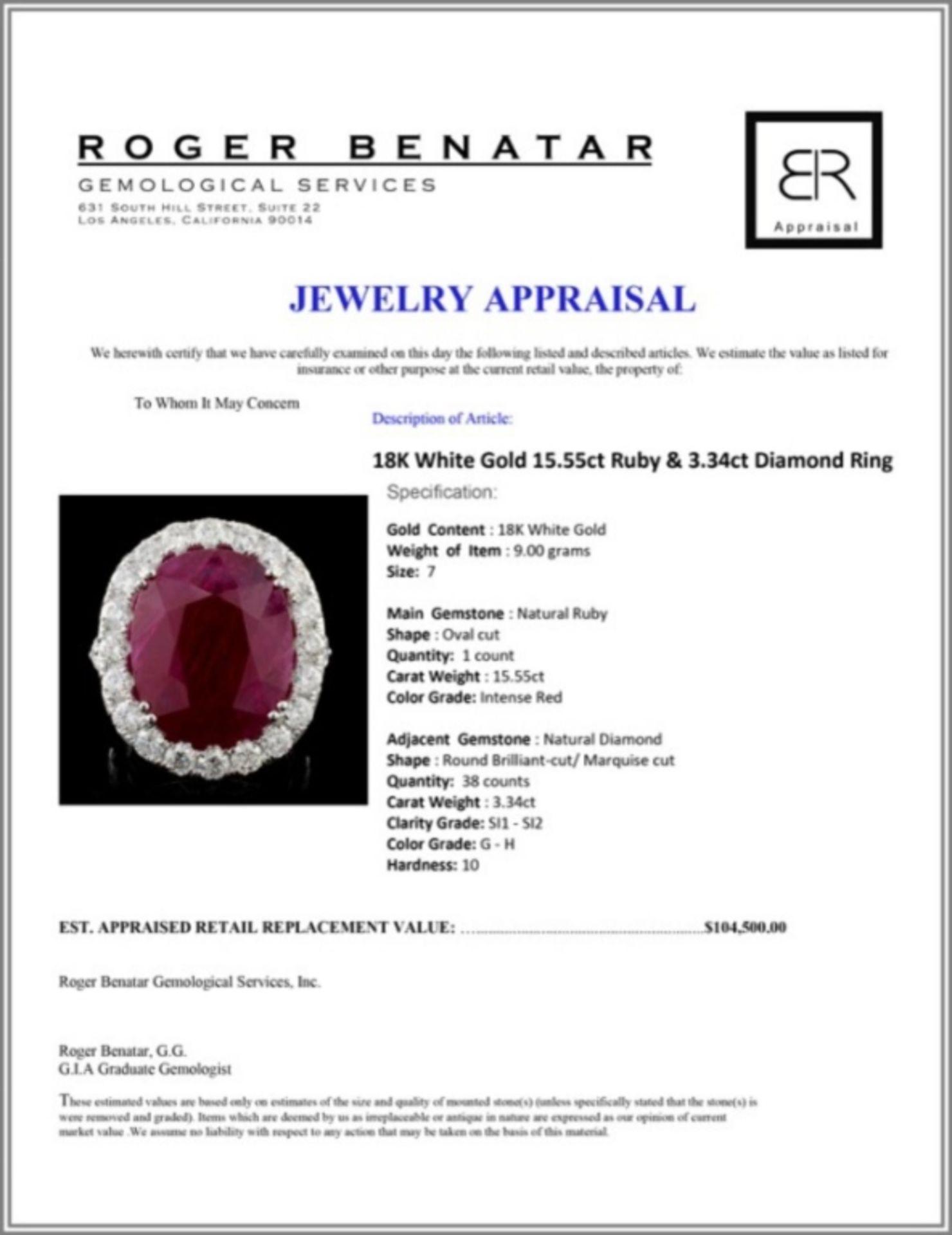 18K White Gold 15.55ct Ruby & 3.34ct Diamond Ring - Image 4 of 4