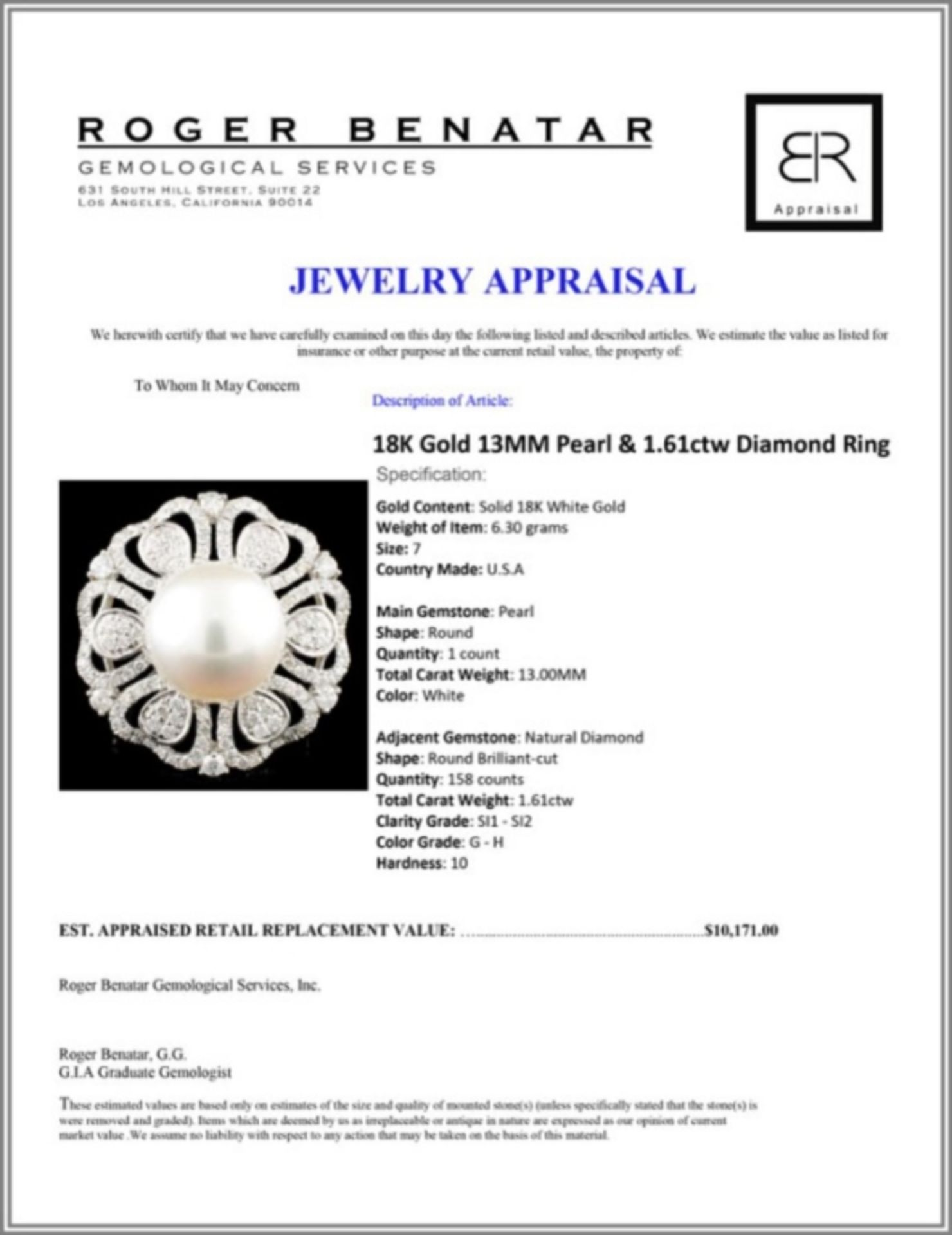 18K Gold 13MM Pearl & 1.61ctw Diamond Ring - Image 5 of 5