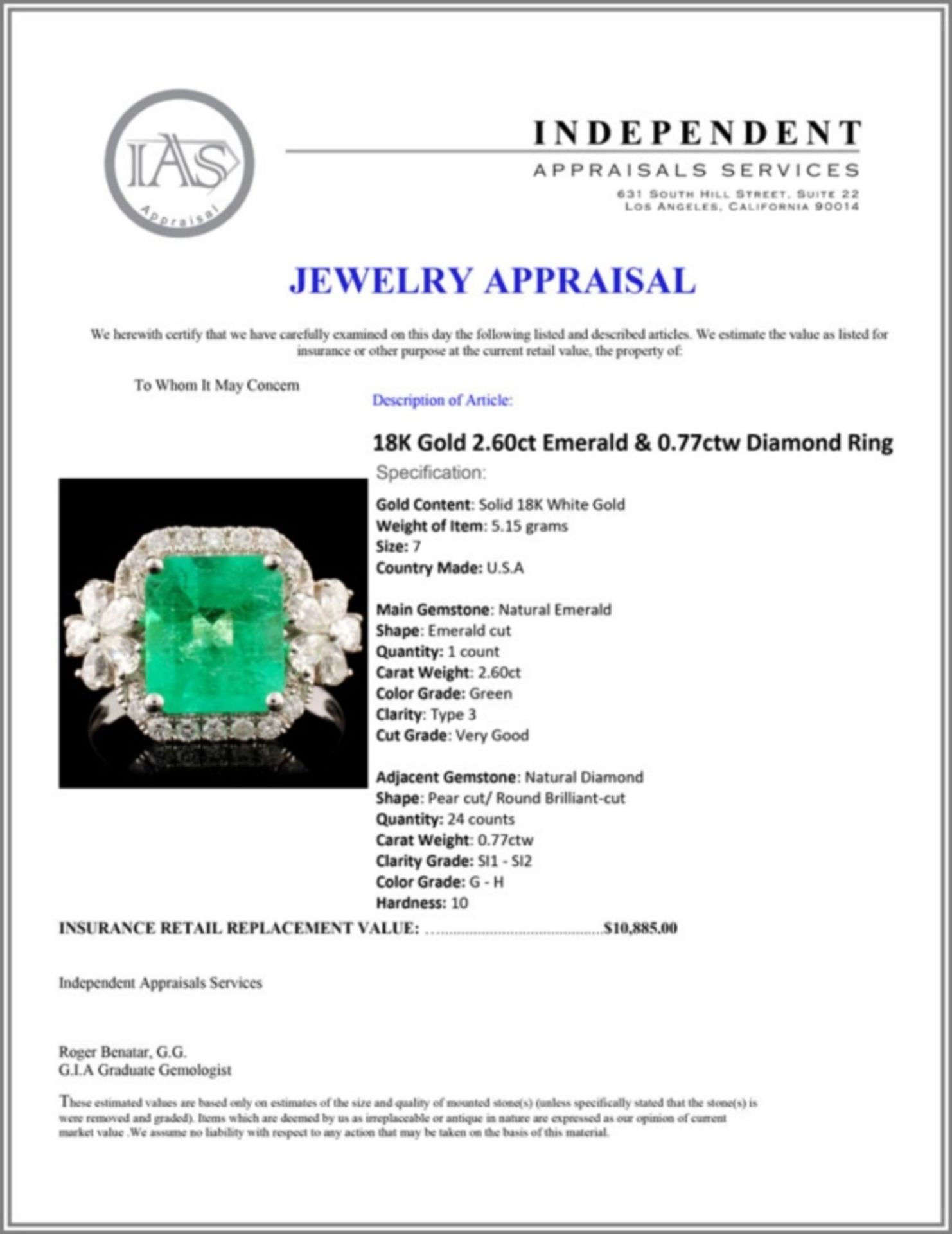 18K Gold 2.60ct Emerald & 0.77ctw Diamond Ring - Image 5 of 5