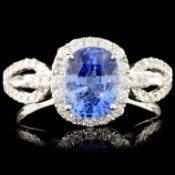 18K Gold 1.63ct Sapphire & 0.45ctw Diamond Ring