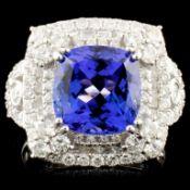 18K Gold 5.13ct Tanzanite & 1.85ctw Diamond Ring