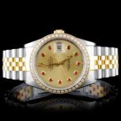 Rolex YG/SS DateJust 1.50ct Diamond 36MM Watch
