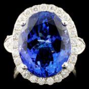 18K Gold 10.72ct Tanzanite & 0.87ctw Diamond Ring