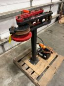 POWER TEAM 15 TON PRO 105 SB PIPE BENDER WITH 110V HYDRAULIC PUMP, REMOTE, RUNS AND OPERATES