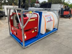 UNUSED SELF CONTAINED HOT WATER PRESSURE WASHER WITH WATER TANK, 3600PSI, 50-90 DEG. C