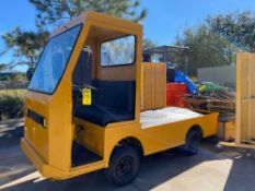 TAYLOR DUNN ELECTRIC SHOP CART WITH FLAT BED, BUILT IN BATTERY CHARGER, RUNS AND DRIVES