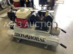HONDA IRON HORSE 10 GALLON CAPACITY AIR COMPRESSOR, HONDA GX 160 ENGINE, WITH HANDLE AND WHEEL