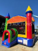 UNUSED INFLATABLE BOUNCE HOUSE WITH BLOWER, APPROX. 13' x 13' x 14' TALL BLOWN UP