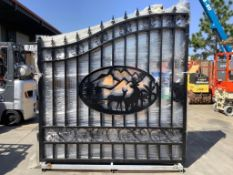 SET OF UNUSED GREAT BEAR 14FT BI PARTING WROUGHT IRON GATES, 7FT EACH PIECE (14' TOTAL WIDTH). 2 PIE