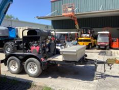 TRAILER MOUNTED HEATED PRESSURE WASHER SYSTEM, DUAL AXLE TRAILER, STORAGE BOX, BILL OF SALE ONLY, RU