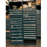 SET OF TWO INDUSTRIAL PARTS CABINETS WITH SOME CONTENTS, EACH CABINET APPROX 8 FT TALL X 2.4 FT WIDE