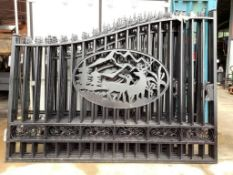 SET OF UNUSED GREAT BEAR 20FT BI PARTING WROUGHT IRON GATES, 10FT EACH PIECE (20' TOTAL WIDTH). 2 PI