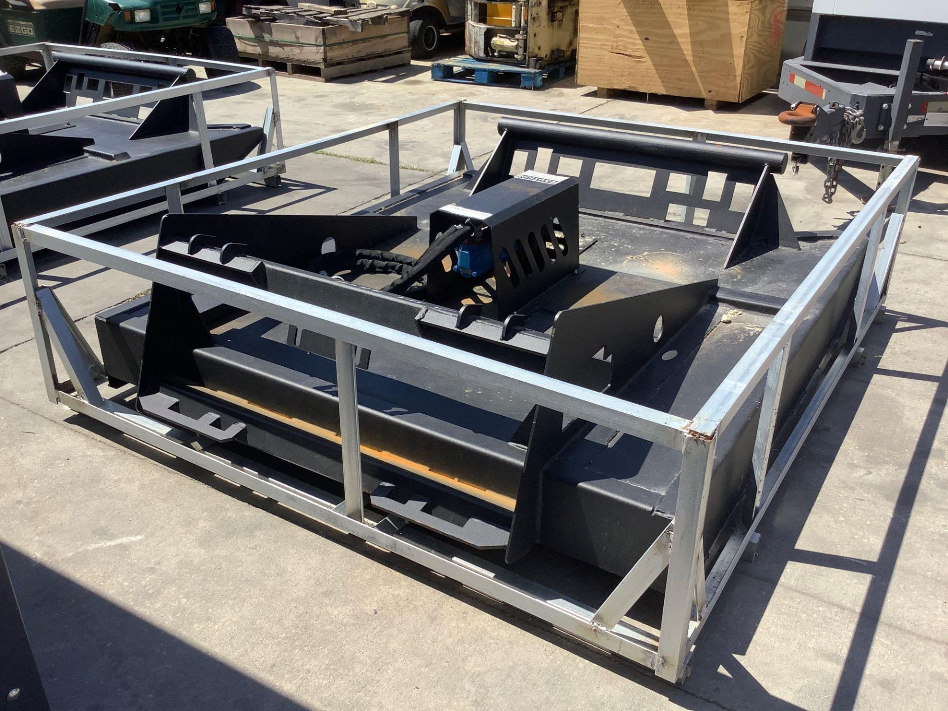 UNUSED BRUSH CUTTER ATTACHMENT FOR SKID STEER APPROX 77IN LONG x 70IN WIDE