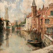 Indistinctly signed (T. Haddessier...?), a view on the Quay of the Rosary in Bruges, oil on cardboar