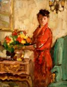 No visible signature, a lady with flowers in an interior, oil on canvas on hardboard, 32 x 40 cm