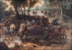 Attributed to/the circle of Vrancx S., a battle scene, oil on panel, 17thC, 25,5 x 36 cm