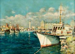 Verbrugghe Ch.,ÿthe ship called the 'Mary Lou' docked in the port of Ostend, oil on cardboard, 58 x