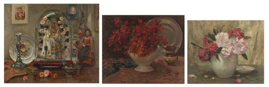 Van de Fackere J., a still life with a so-called 'besloten hofje', silverware and flower decorated d