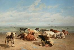 Robbe L. cows resting at the beach, dated (18)78, oil on canvas, 93 x 135 cm