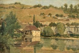Vernier E., a Southern view near the water, oil on canvas, 38 x 55,5 cm