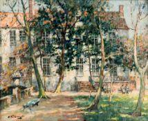 Verbrugghe Ch., 'Jardin de Gruuthuse … Bruges, le matin', oil on canvas, 50 x 61 cm