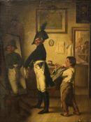 """Monogrammed H.T. (Theodor H""""semann), 'Beim Uniformschneider' (at the uniform tailors), oil on canvas"""